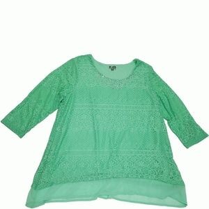 Jm Collection Lace Chiffon-Hem Top Mint Julip XL